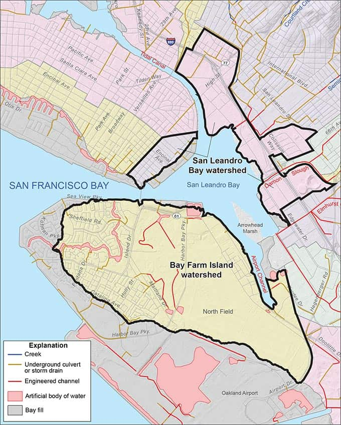 Bayfarm Island and San Leandro Bay Watersheds