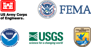 U.S. Army Corps Of Engineers, F.E.M.A, N.O.A.A, U.S.G.S., and U.S. Fish & Wildlife Service Logos